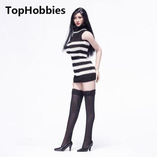 1//6 Sca FemaleSleeveless Slim knitted Sweater Black Stockings Suit High Collar
