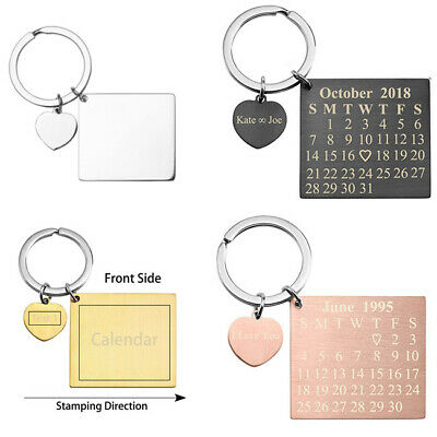 Personalized Calendar Keychain Heart Tag Dangle Anniversary Meaningful Date  Gift | eBay