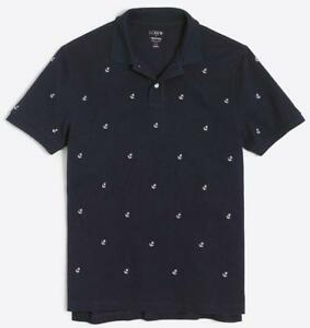 NWT Mens J.Crew J Crew Pique Slim Fit Polo Shirt All-Over Ship Boat Anchors *5C