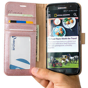 PU-Leather-Rose-Gold-Flip-Wallet-Cover-Case-for-Samsung-Galaxy-S7-Edge-Phone