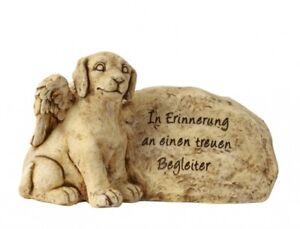 Hund-mit-Fluegel-neben-Grabstein-Spruch-Grabschmuck-Grabdeko-Gedenkstein-H-25cm
