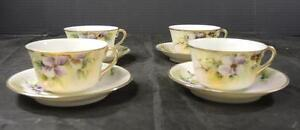 Four Antique Hand Painted Purple & White Orchids Cups & Saucers