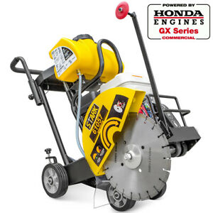 Honda-power-engine-walk-behind-floor-concrete-cement-14-034-gas-cut-off-saw-w-blade