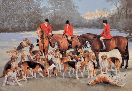 C482X Horse and Hounds at Belvoir Christmas cards pack of 10 by J Bell