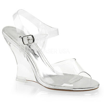 FABULICIOUS Lovely 408 Clear Ankle Strap Party Wedding 4