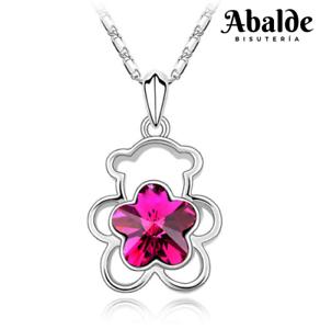 Collar-Colgante-Mujer-Cristal-Austriaco-Rosa-Diseno-Oso-TO-Regalo-San-Valentin