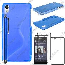Housse Etui Coque Silicone S-line Bleu Sony Xperia Z2 D6503+Stylet+3 Film écran