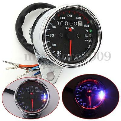 Universal Motorcycle Dual Odometer Speedometer Gauge Meter Signal LED Backlight