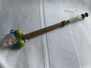 Lace-Bobbin-Wooden-Green-Blue-Clear-Glass-Beaded-Spangle-Vintage