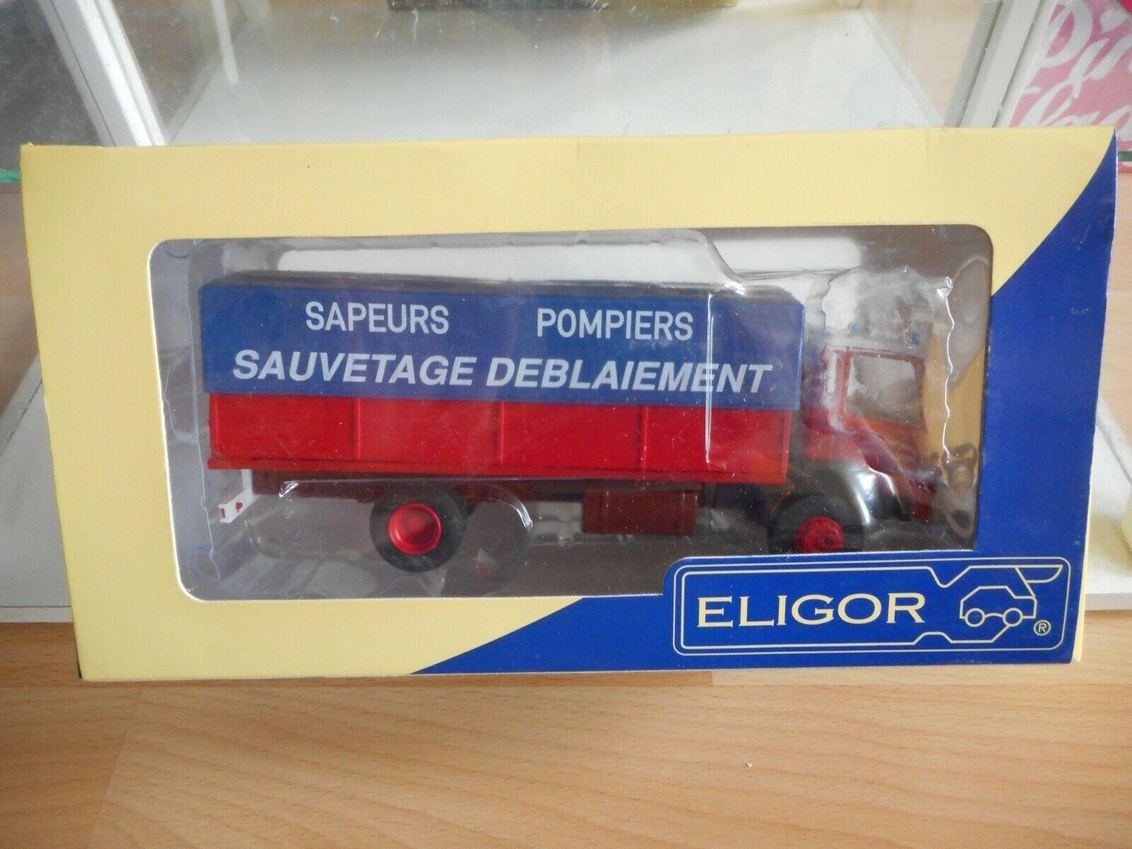Eligor Berliet GR190 Sapers Pompiers in rouge bleu on 1 43 in Box