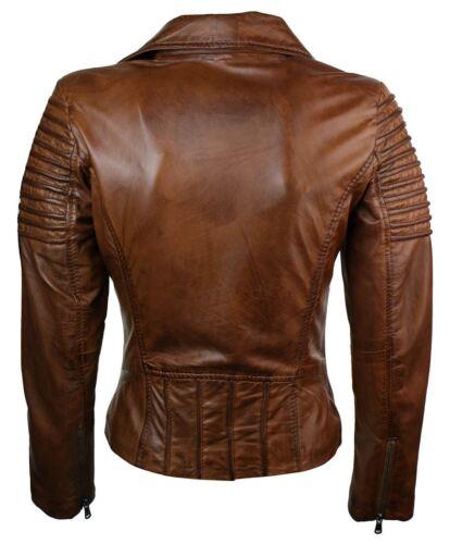fit vera da marrone pelle in vera pelle slim donna motociclista Giubbotto da in pw7XxA