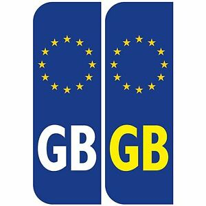 Pair Of Gb Euro Car Number Plate Vinyl Stickers For Driving Abroad