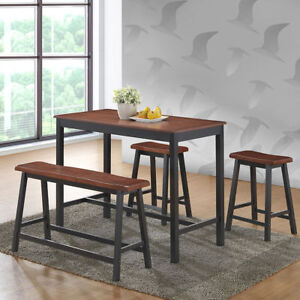 Enjoyable Details About 4 Pcs Solid Wood Kitchen Counter Table Chair Set Bench Saddle Stools Furniture Ibusinesslaw Wood Chair Design Ideas Ibusinesslaworg