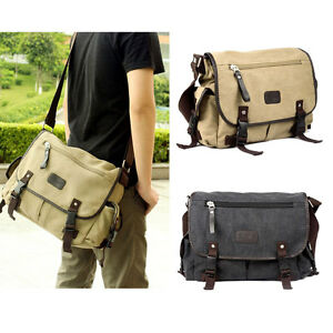 Men Canvas Vintage Leather Messenger School Book Bag Crossbody ...