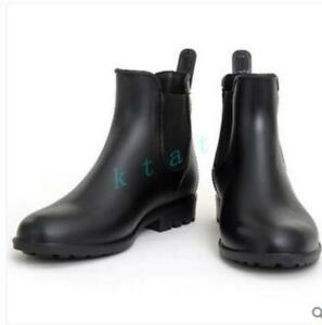 New-Arrive-Men-039-s-ankle-rain-boots-waterproof-black-Pull-On-Chelsea-boots-Fashion