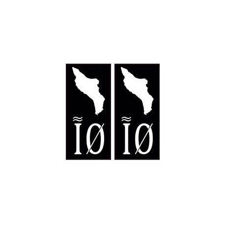 IO - Ile d'Oléron noir autocollant sticker plaque immatriculation arrondis
