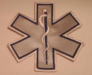 """EMS EMT 7"""" Emergency Medical Star of Life Blue Reflective Patch"""