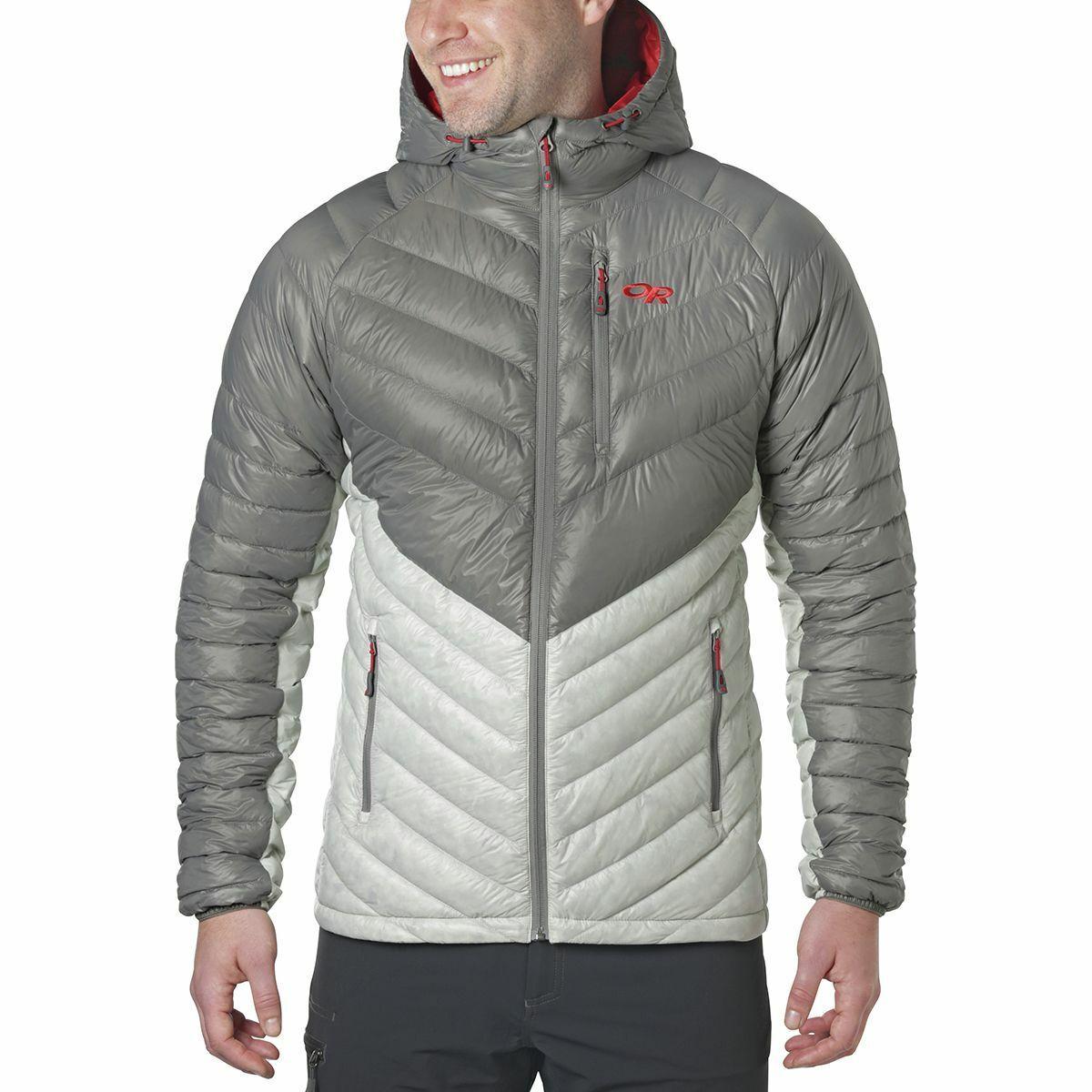 Outdoor Research Illuminate 800-fill Down Hoody Jacket, Pewter, Medium $269 NWT