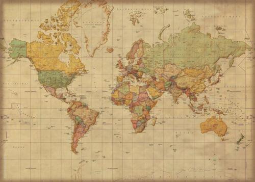 140x100 Landkarten Giant XXL Poster antike Weltkarte deutsch 1:30 Mio