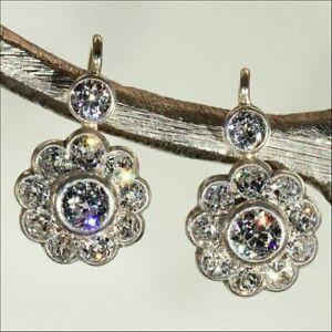 14-K-White-Gold-FN-2-10-CT-White-Round-Diamond-Retro-Bezel-Set-Earrings-925-SS