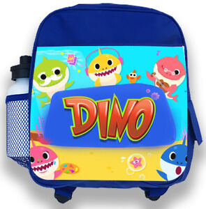 Personalised Kids Backpack Any Name Baby Shark Boys Childrens Back To School