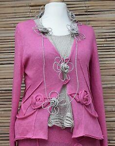 Bart 2 Pockers Made design L Cardigan taglia Pure Applique Linen Zuza Hand rosa aqpdAww