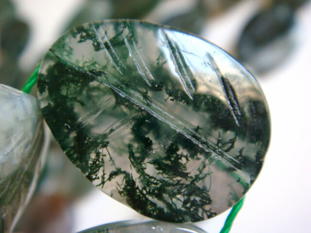 "15x20mm Leaf Shape Moss Agate 15""-16"" INCH Stones Beads #"