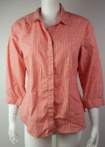 CHICOS-Salmon-Pink-White-Striped-Button-Down-3-4-Sleeve-Top-Shirt-Womens-Size-1