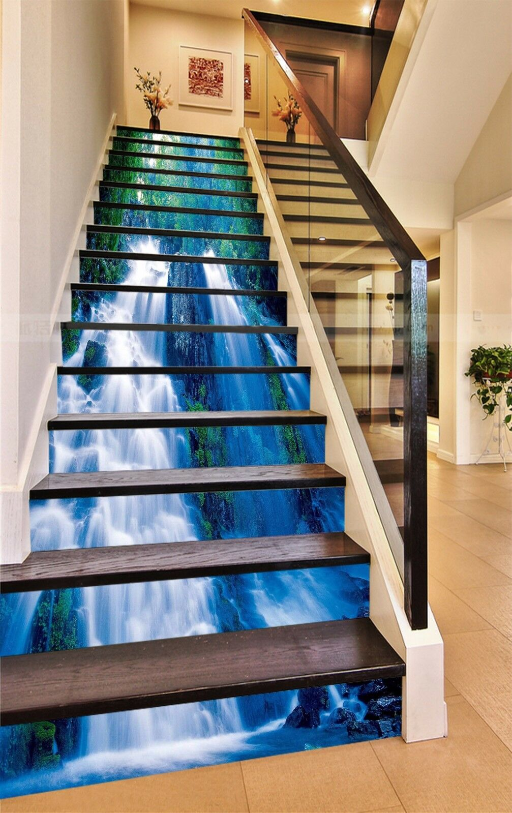 3D Waterfall View 73Stair Risers Decoration Photo Mural Vinyl Decal Wallpaper AU