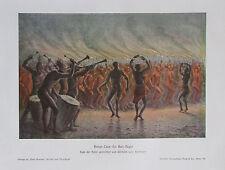 ca. 1900 Kriegs-Tanz der Bari-Neger alter Druck antique Print Litho