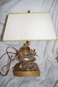 Antique Ebonized Gilded Brass Art Nouveau Table Lamp On Onyx Marble Base Antiques