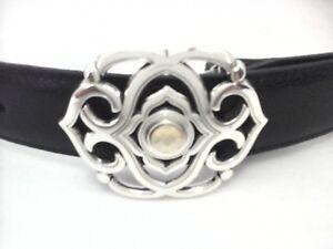 BRIGHTON-Belt-Black-Leather-Silver-Buckle-w-Crystal-TOLEDO-USA-Womens-M-62