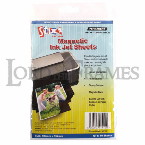 10 x Printable Magnetic Ink Jet Sheets Permanent 100x152mm Glossy Photo Picture