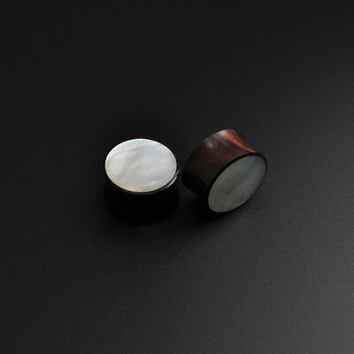 Sono Wood Plug with Genuine Mother of Pearl Inlay Organic Wooden Ear Stretcher