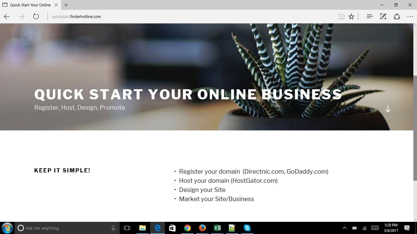 Domain Registration, Basic Wordpress Site and Hosting 1