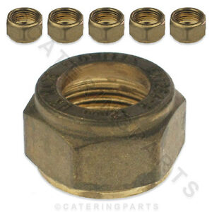 12mm BRASS COMPRESSION NUTS PACK OF 6 GAS COPPER PILOT PIPE TUBE TUBING FITTINGS