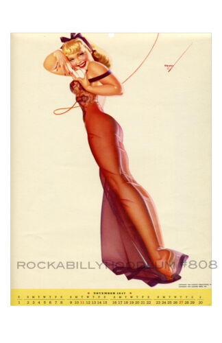 Pin Up Girl Poster 11x17 George Petty girl November 1947 sheer gown blonde