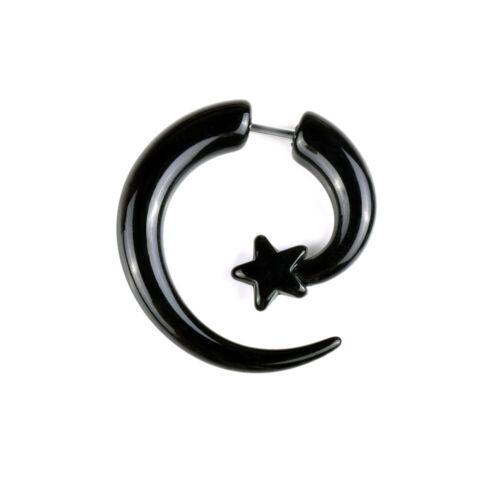 Acrylique Spirale Aile Noir Piercing Oreille Faux Taper plug Tricheur Civière Boucle d/'oreille