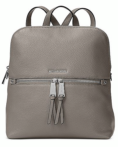 Michael Kors Rhea Zip Medium Slim Backpack Leather Pearl Grey for ... 4e084adf4bb2e
