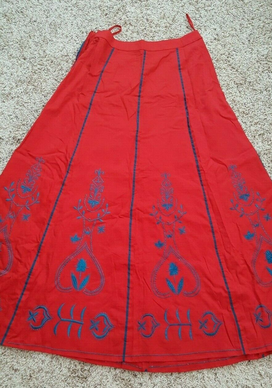 Long Cotton Skirt Red w bluee Embroidery by eshakti Sz Medium
