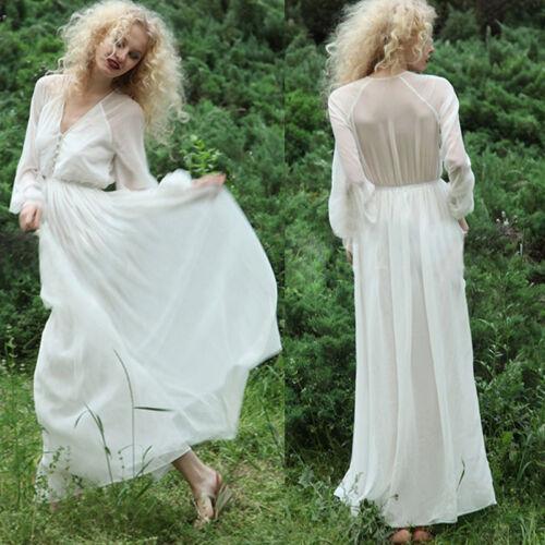 Women White Chiffon Long Sleeve Dresses Boho Party Evening Beach Maxi Long Dress