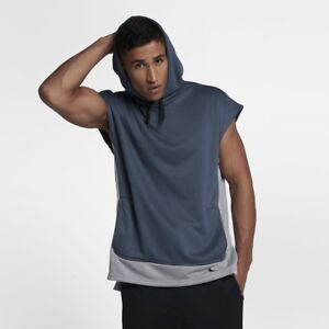66787de18b3 New NIKE DRI-FIT Men's Sleeveless Training Sweatshirt Pullover Blue ...