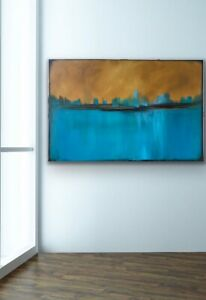 Large Original Contemporary Modern Fine Art Abstract Painting Blue Teal Signed