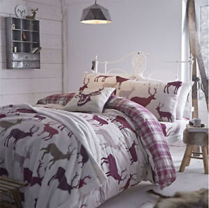 Catherine-Lansfield-Brushed-Cotton-Grampian-Stag-Deer-Mulberry-Quilt-Duvet-Cover