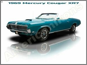 1968 Mercury Cougar Metal Sign Fully Restored in Blue /& White