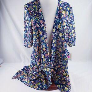 Lularoe-Shirley-kimono-blu-Design-geometrico-chiffon-leggero-Copertura-Piccolo