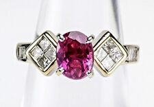 2.01 ct Oval Gem Ruby Princess Baguette Diamond 18K White Gold Engagement Ring