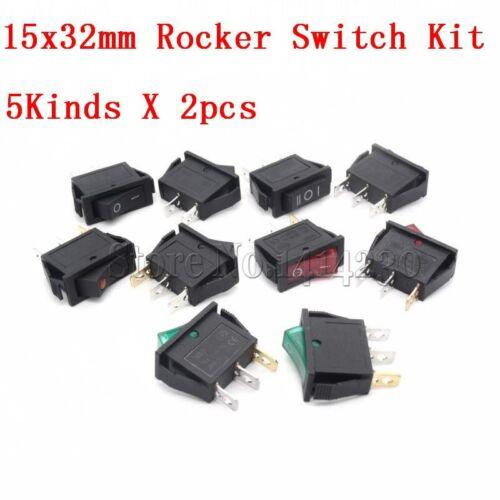 10Pcs Rocker Switch Kit 15A 250V 30A 220VAC 2Pin//3Pin ON-OFF ON-OFF-ON