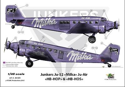 """Decals 1//144 Junkers Ju-52 /""""Ju-Air Milka FFSMC Productions"""