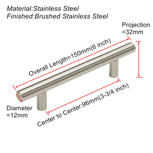 Stainless Steel Door Handle Brushed Nickel Drawer Pulls Kitchen Cabinet Knobs